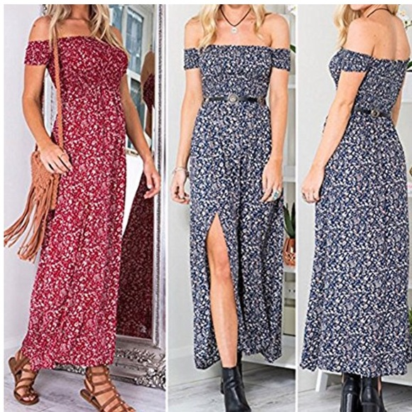 fbfd47c6d Dresses | Boho Off Shoulder Long Maxi Casual | Poshmark